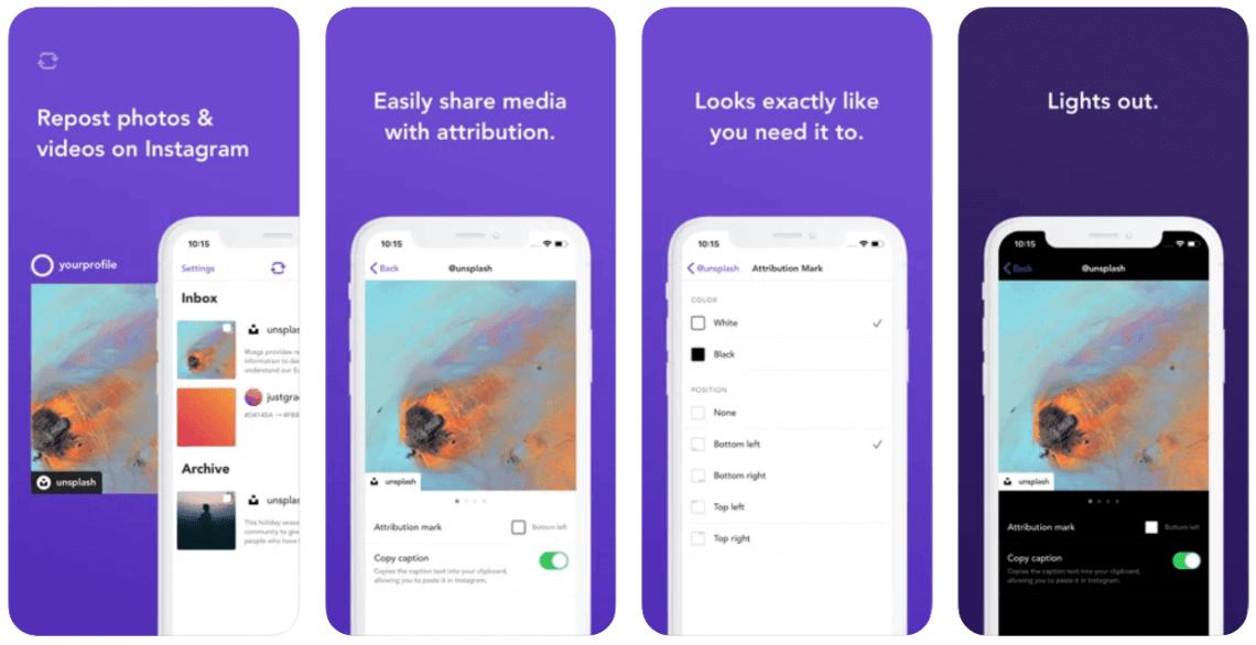 Screenshots from Repost: For Instagram app