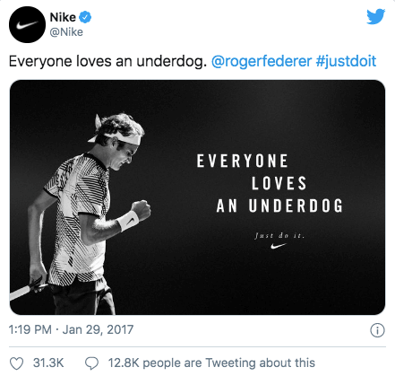 A screenshot showing a post from Nike's Twitter