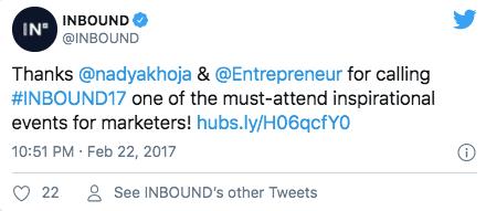 A screenshot of a Twitter post by Inbound