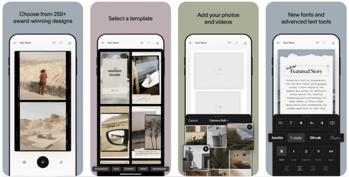 Screenshots from Unfold app