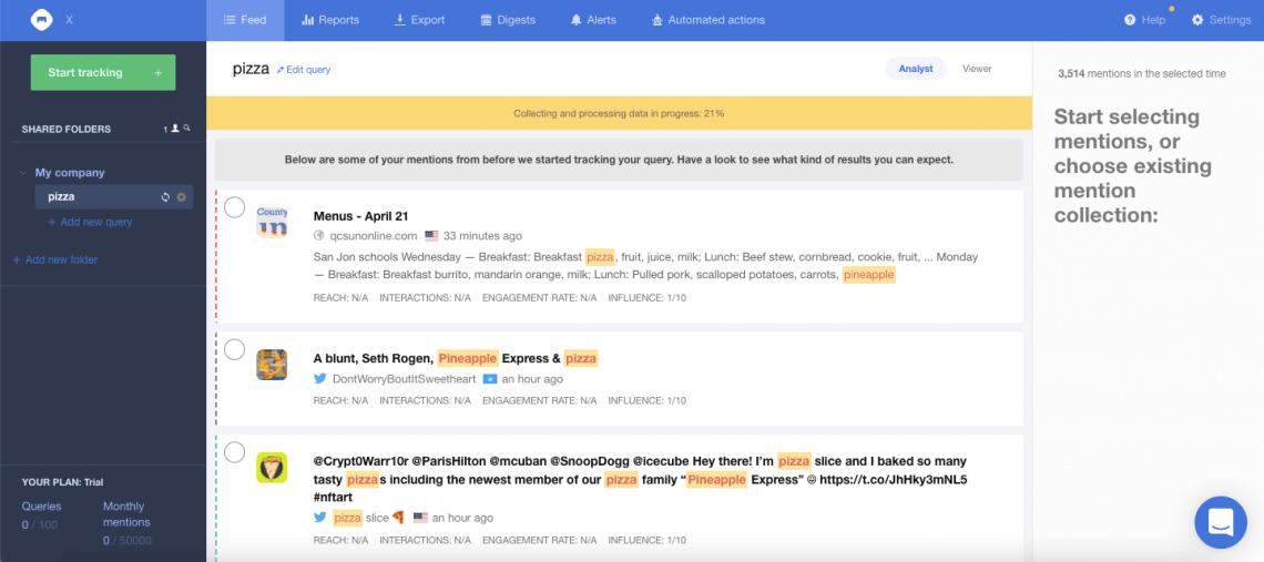 A screenshot showing Mediatoolkit dashboard